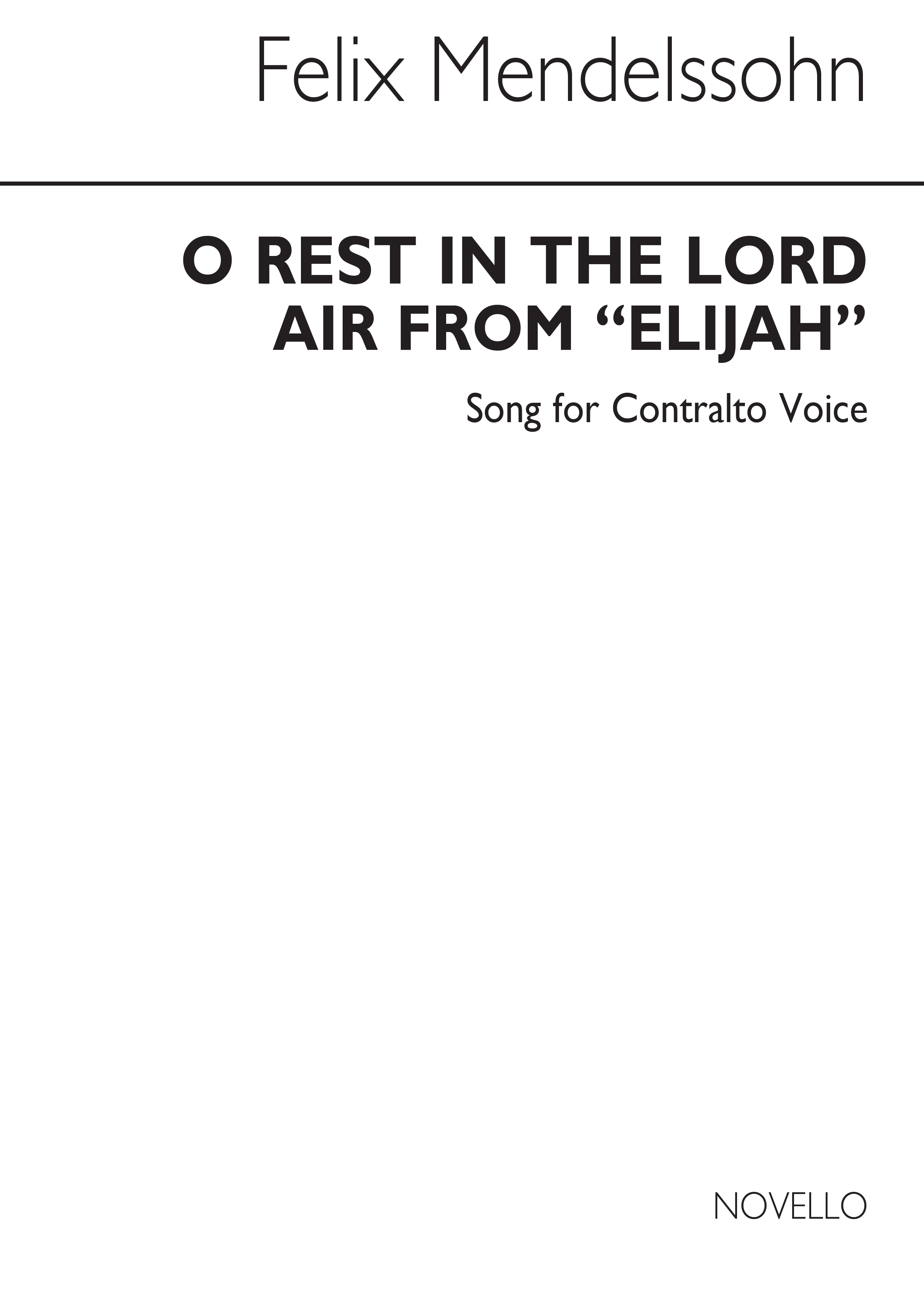 Felix Mendelssohn Bartholdy: O Rest In The Lord In C: Voice: Vocal Score