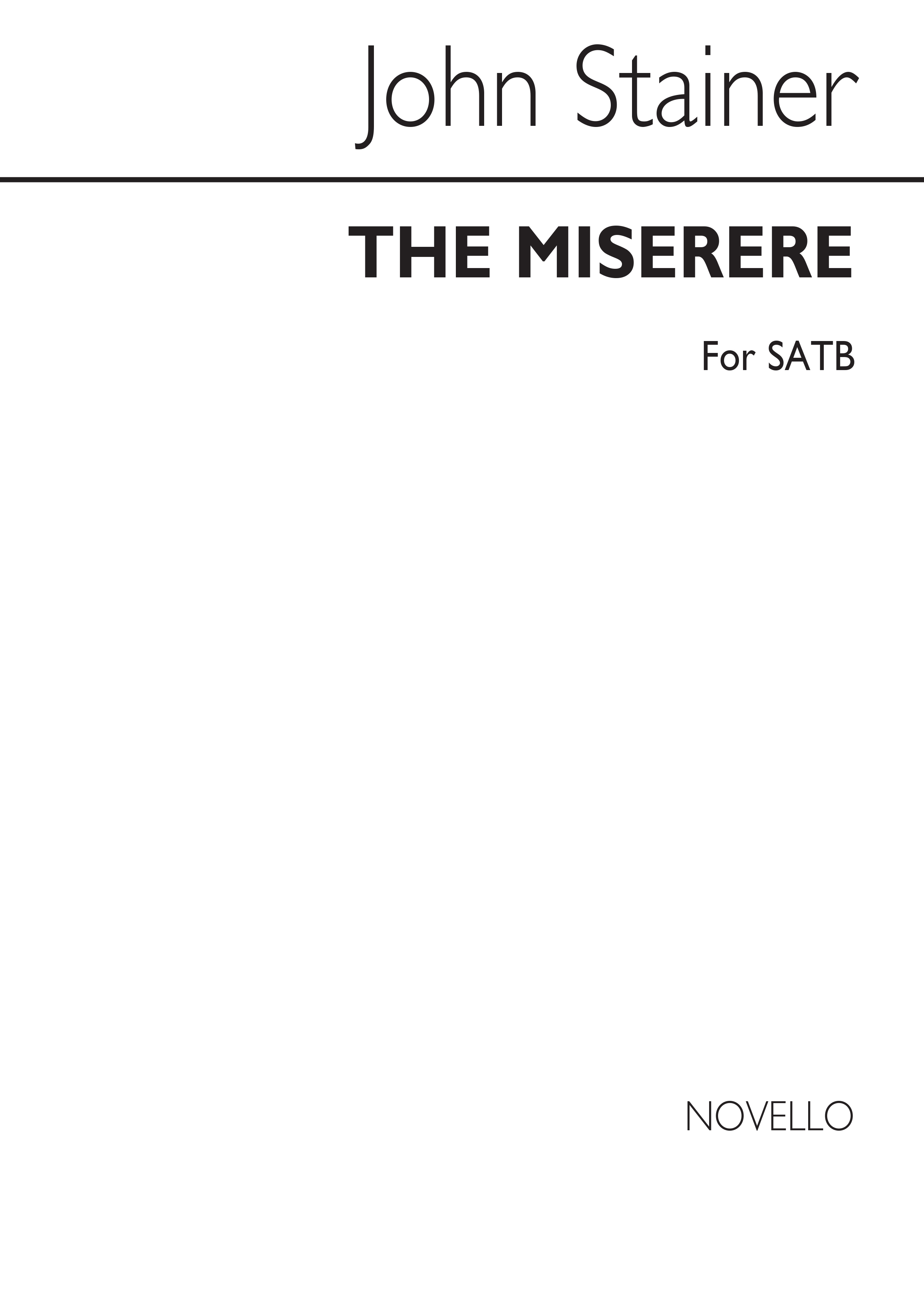 Sir John Stainer: The Miserere: SATB: Vocal Score