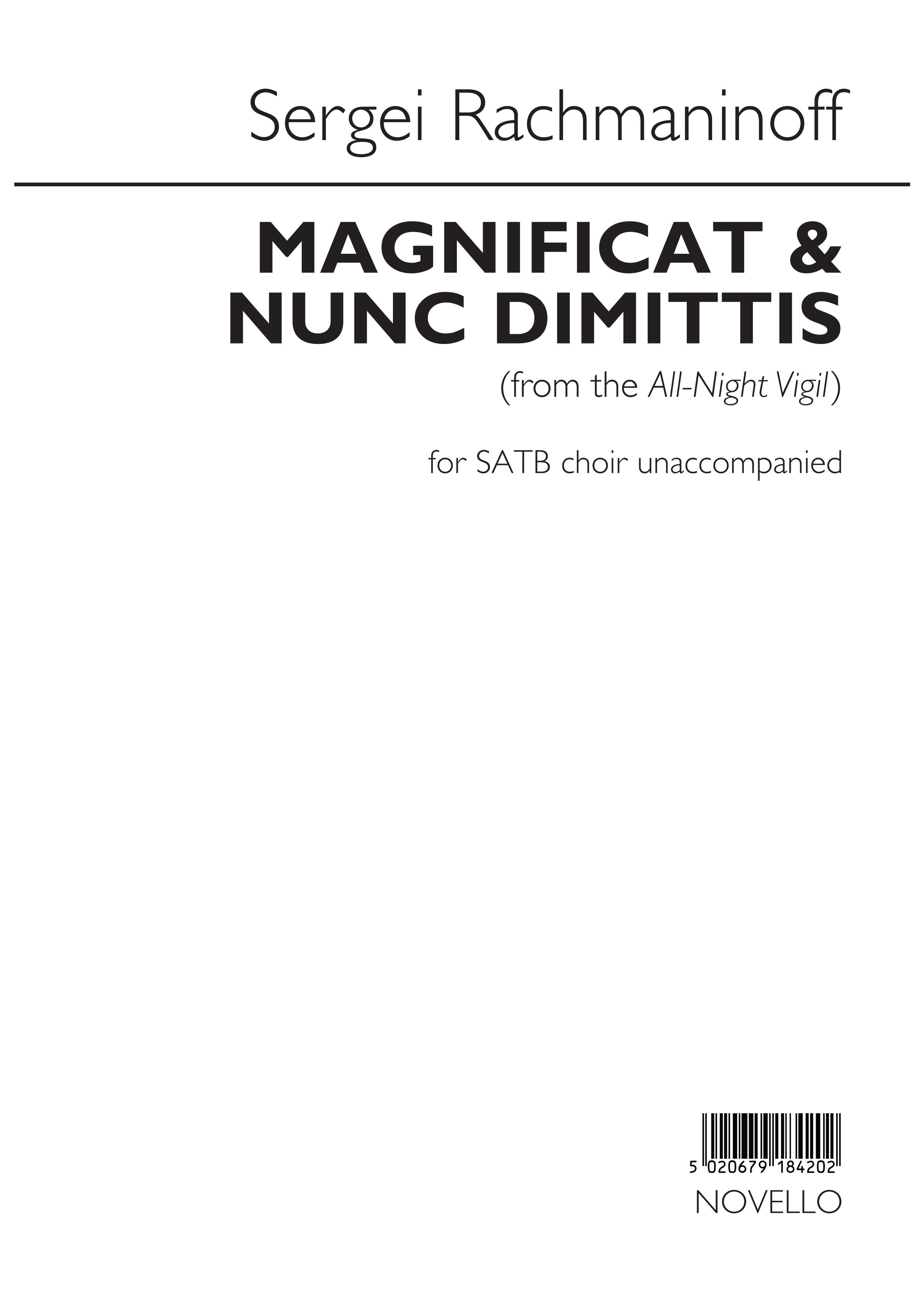Sergei Rachmaninov: Magnificat and Nunc Dimittis: SATB: Vocal Score