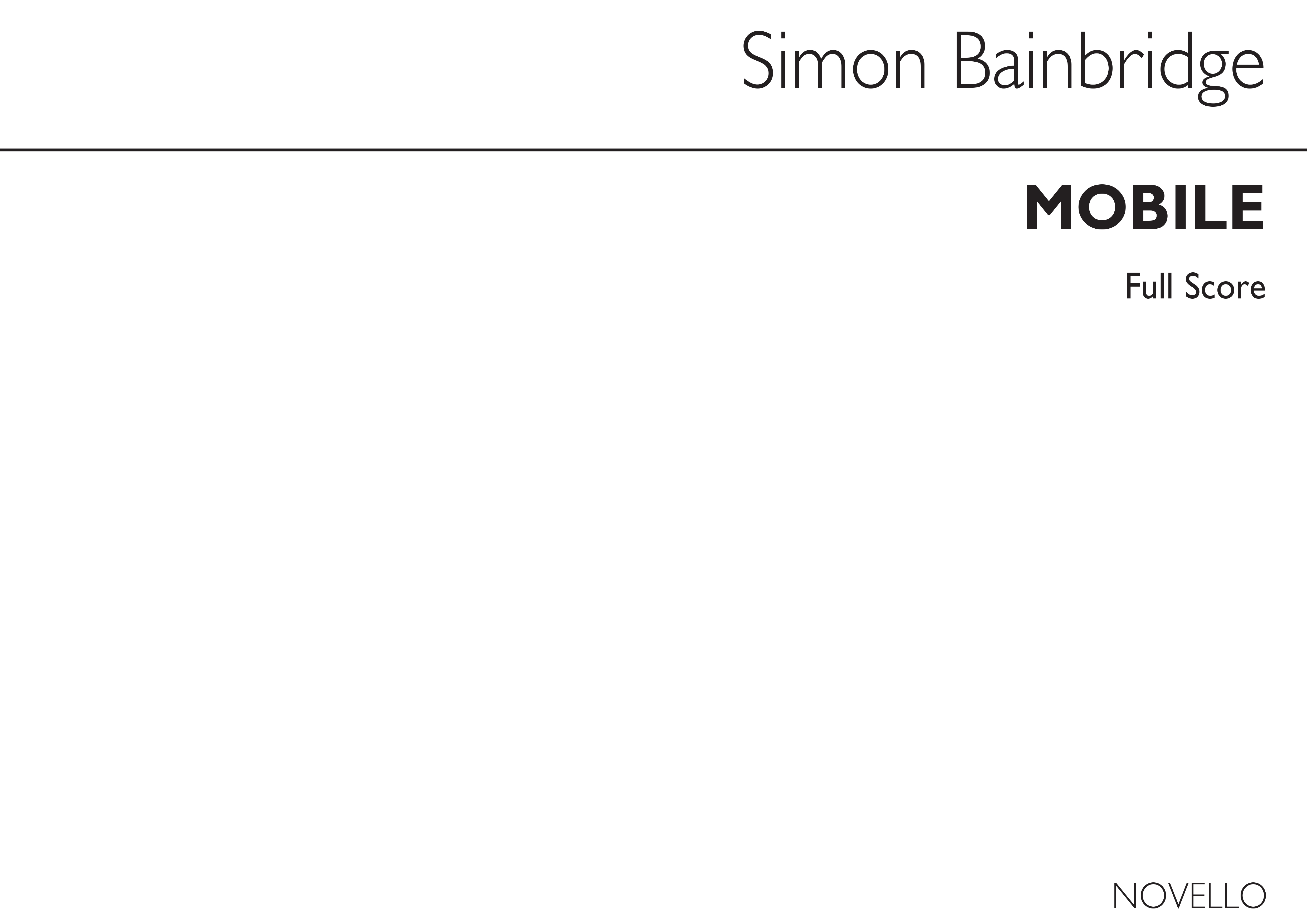 Simon Bainbridge: Mobile (Players Score): Cor Anglais: Instrumental Work
