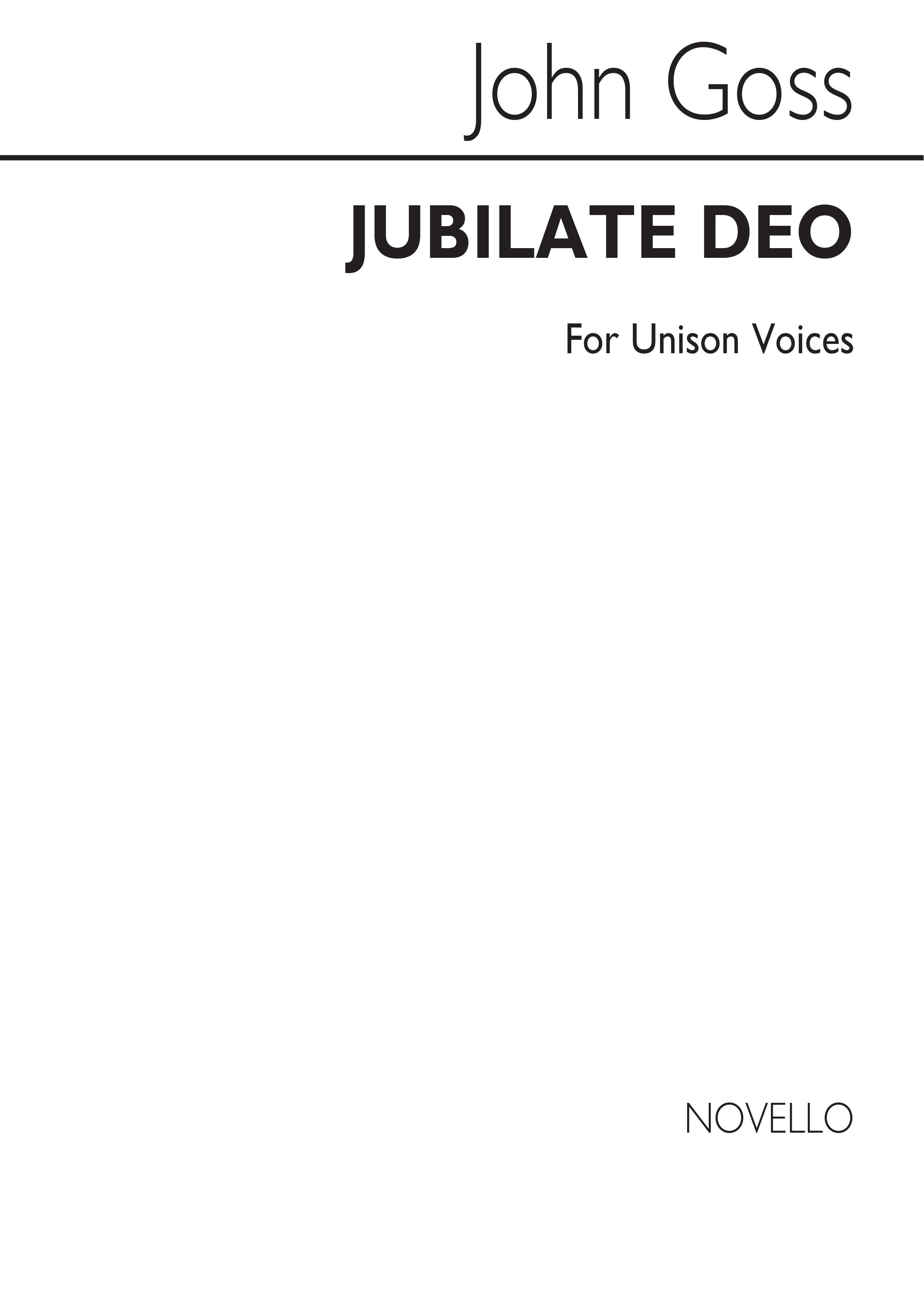 John Goss: Jubilate Deo In A Unison: Unison Voices: Vocal Score