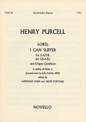 Henry Purcell: Lord I Can Suffer: SATB: Vocal Score