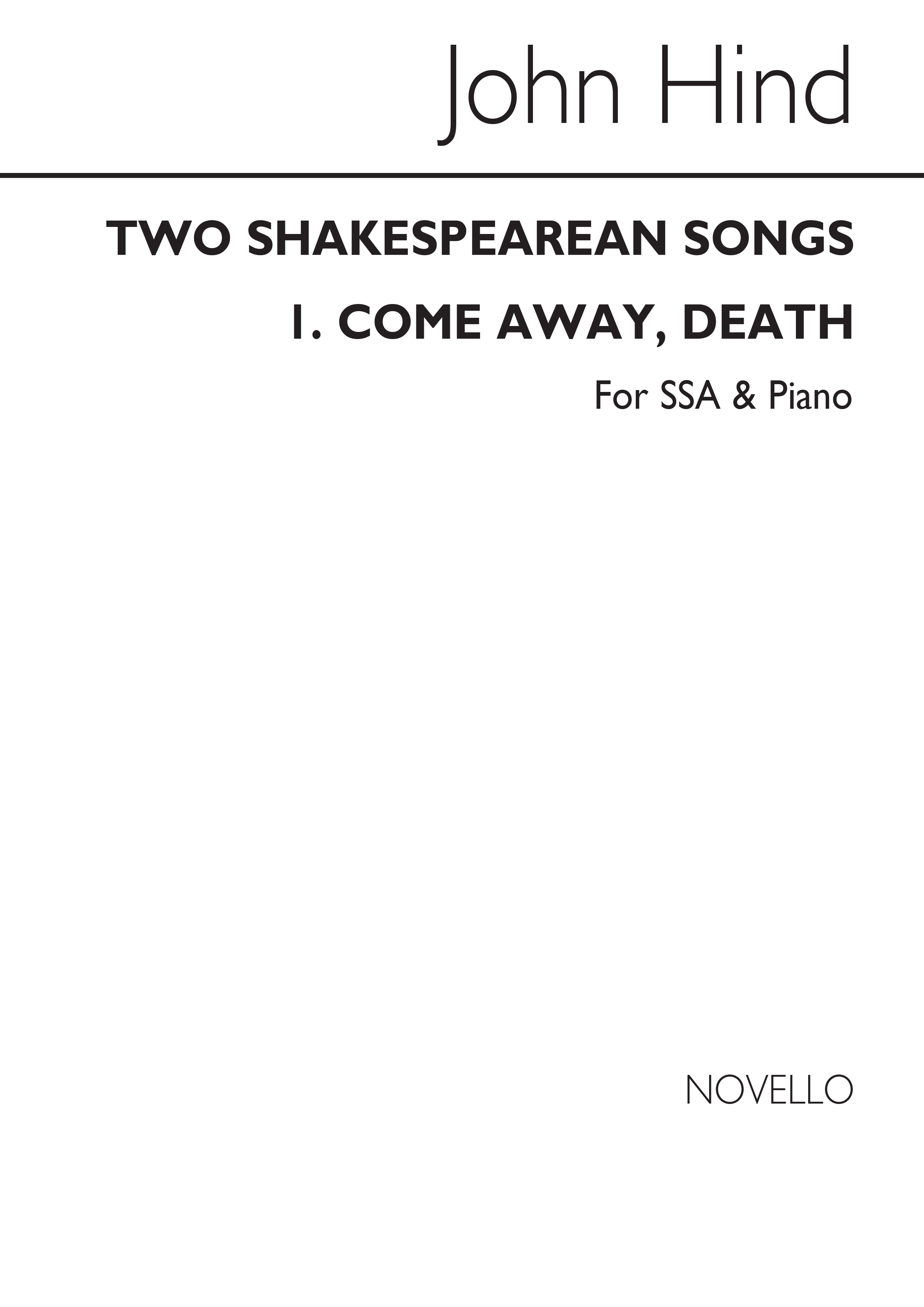 John Hind: Two Shakespearean Songs: SSA: Vocal Score