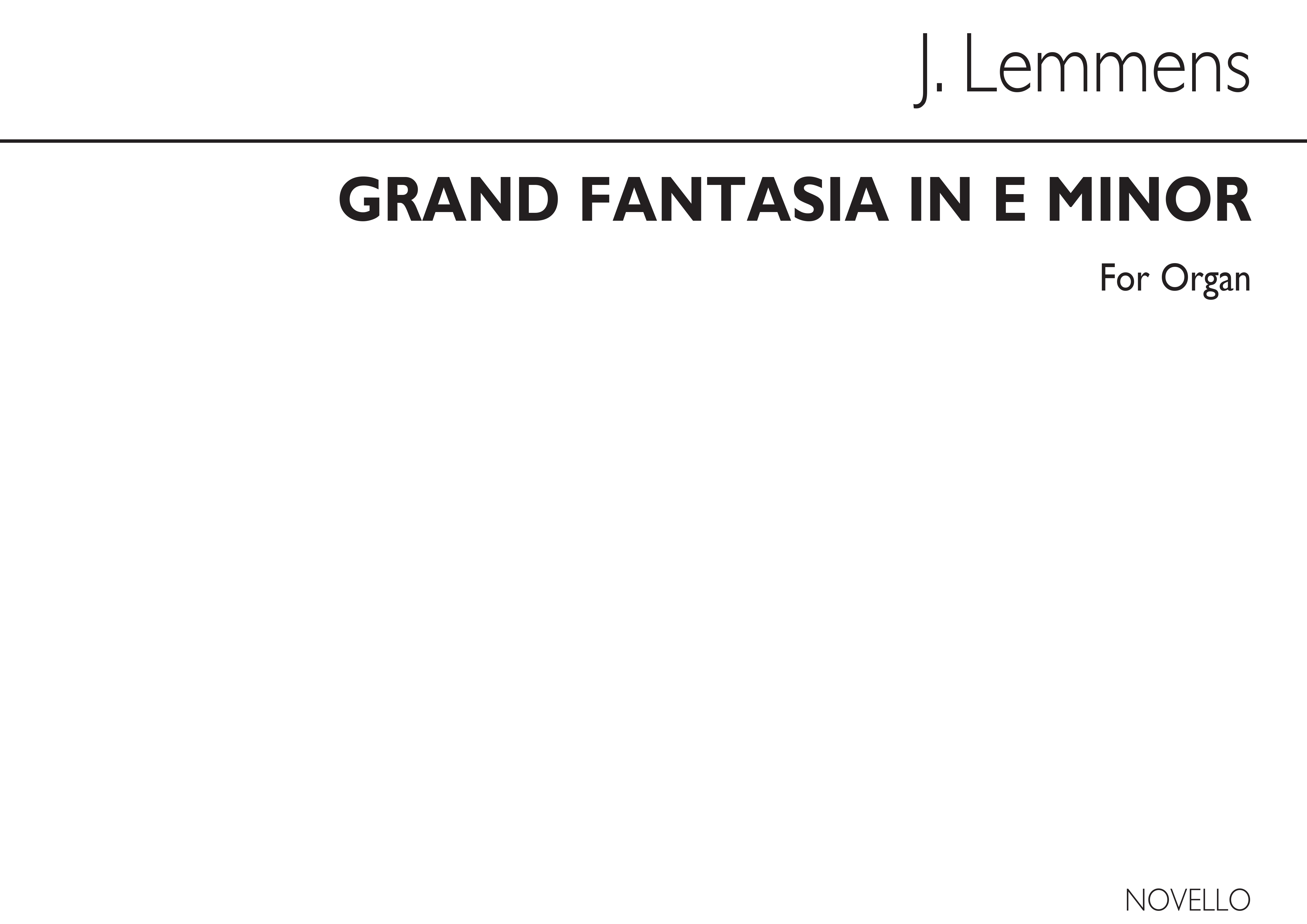 Nicolas-Jacques Lemmens: Grand Fantasia: The Storm In E Minor For: Organ: