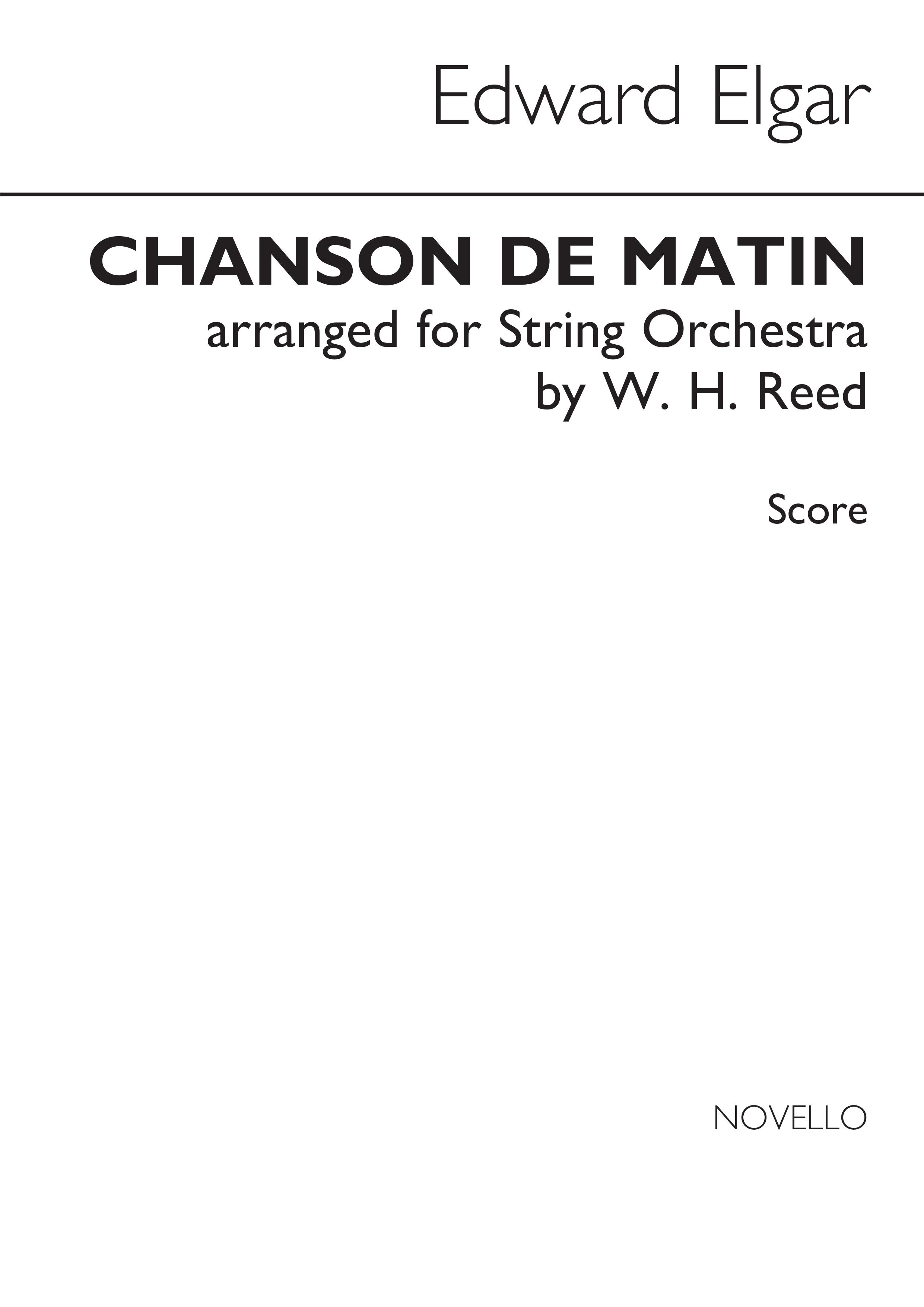 Edward Elgar: Chanson De Matin: String Orchestra: Score