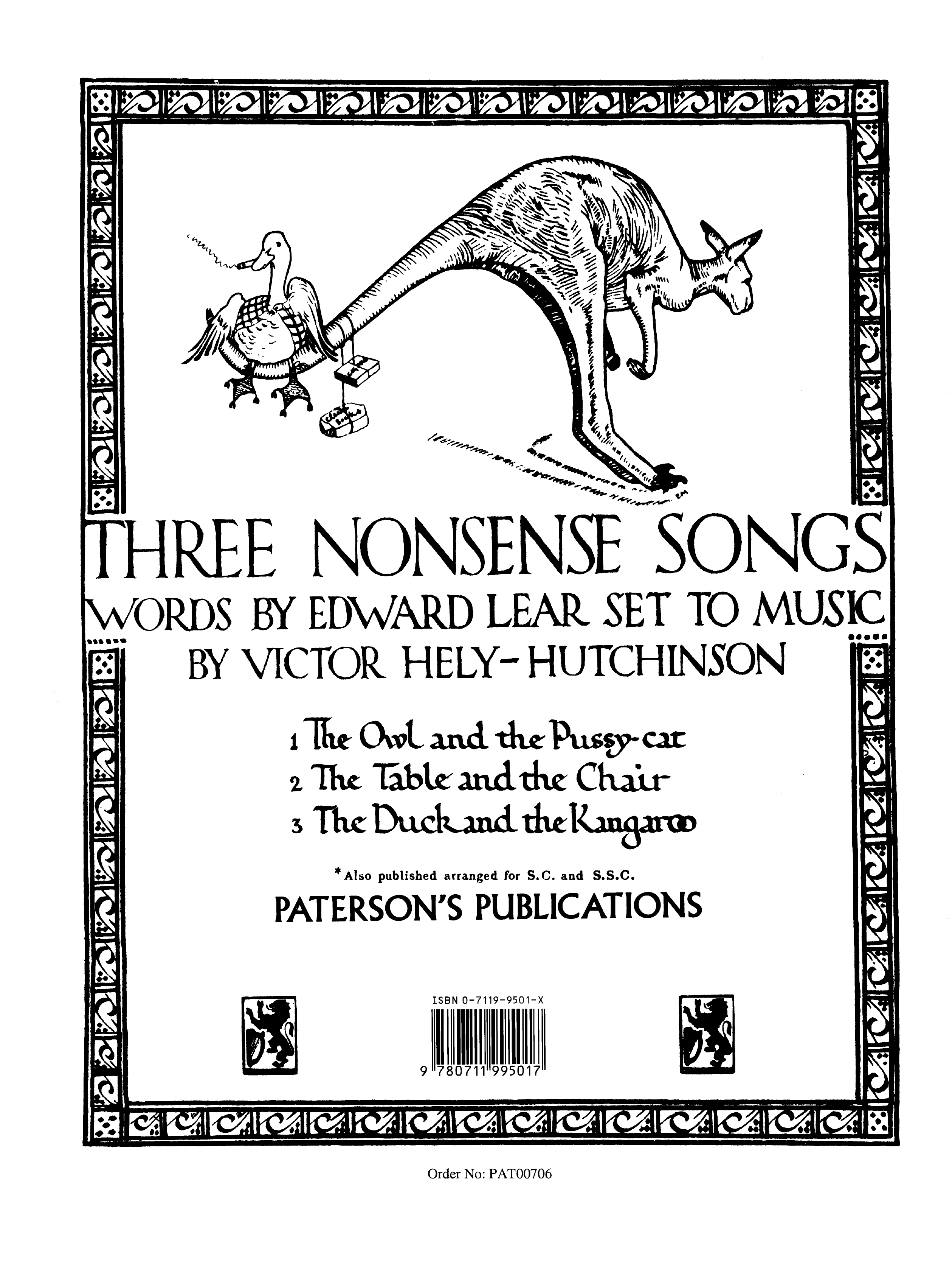 Victor Hely-Hutchinson: Three Nonsense Songs: Voice: Mixed Songbook