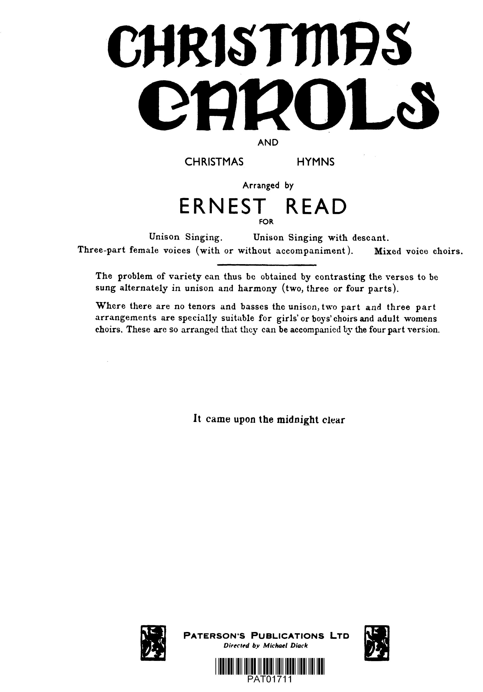Read: It Came Upon A Midnight Clear: SATB: Vocal Score