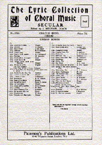 Wolfgang Amadeus Mozart: Cradle Song: Unison Voices: Vocal Score