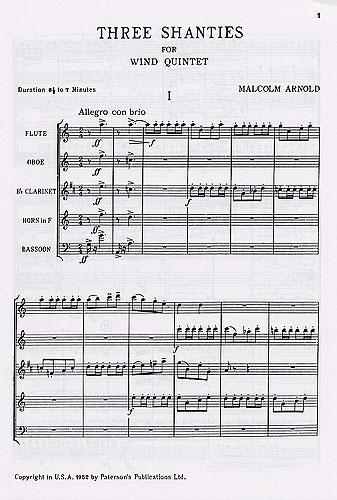 Malcolm Arnold: Three Shanties For Wind Quintet Op.4: Wind Ensemble: Score