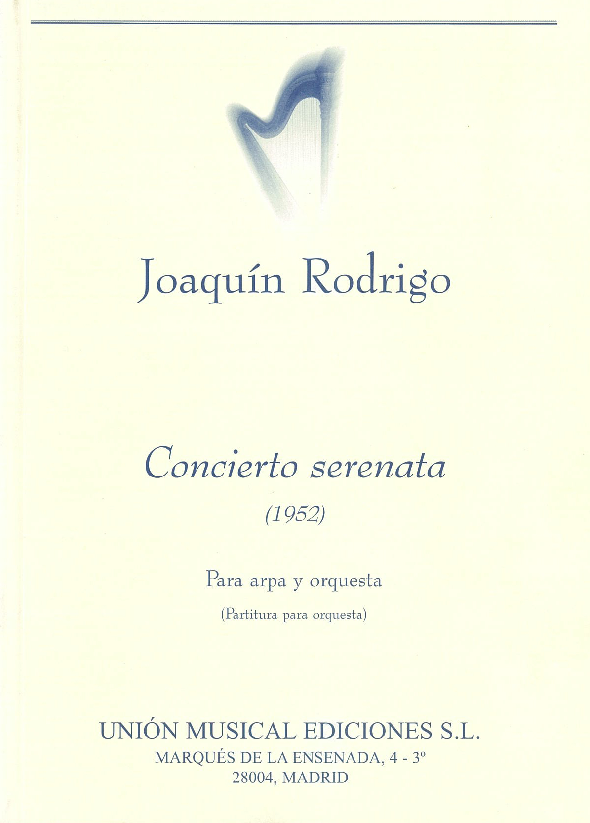 Joaquín Rodrigo: Concierto Serenata Para Arpa Y Orquesta: Harp: Miniature Score