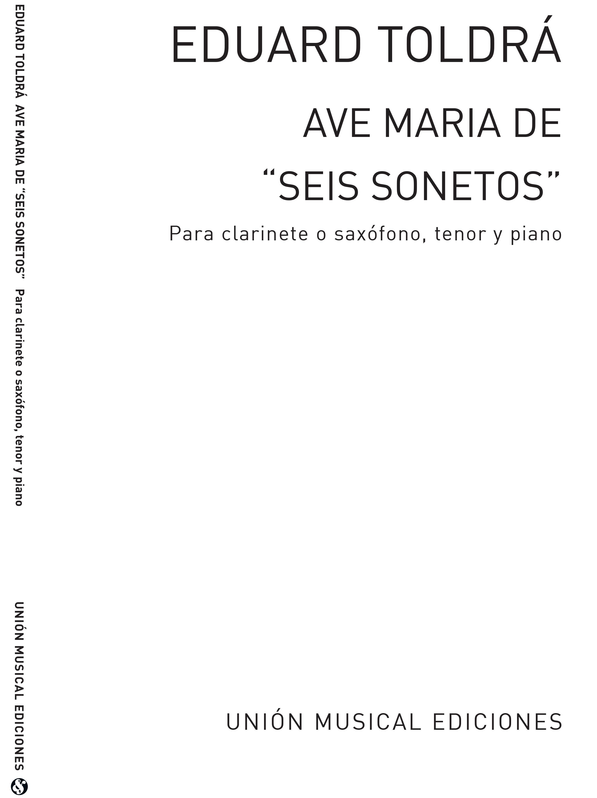 Eduardo Toldra: Ave Maria (Amaz) For Tenor Saxophone: Tenor Saxophone: