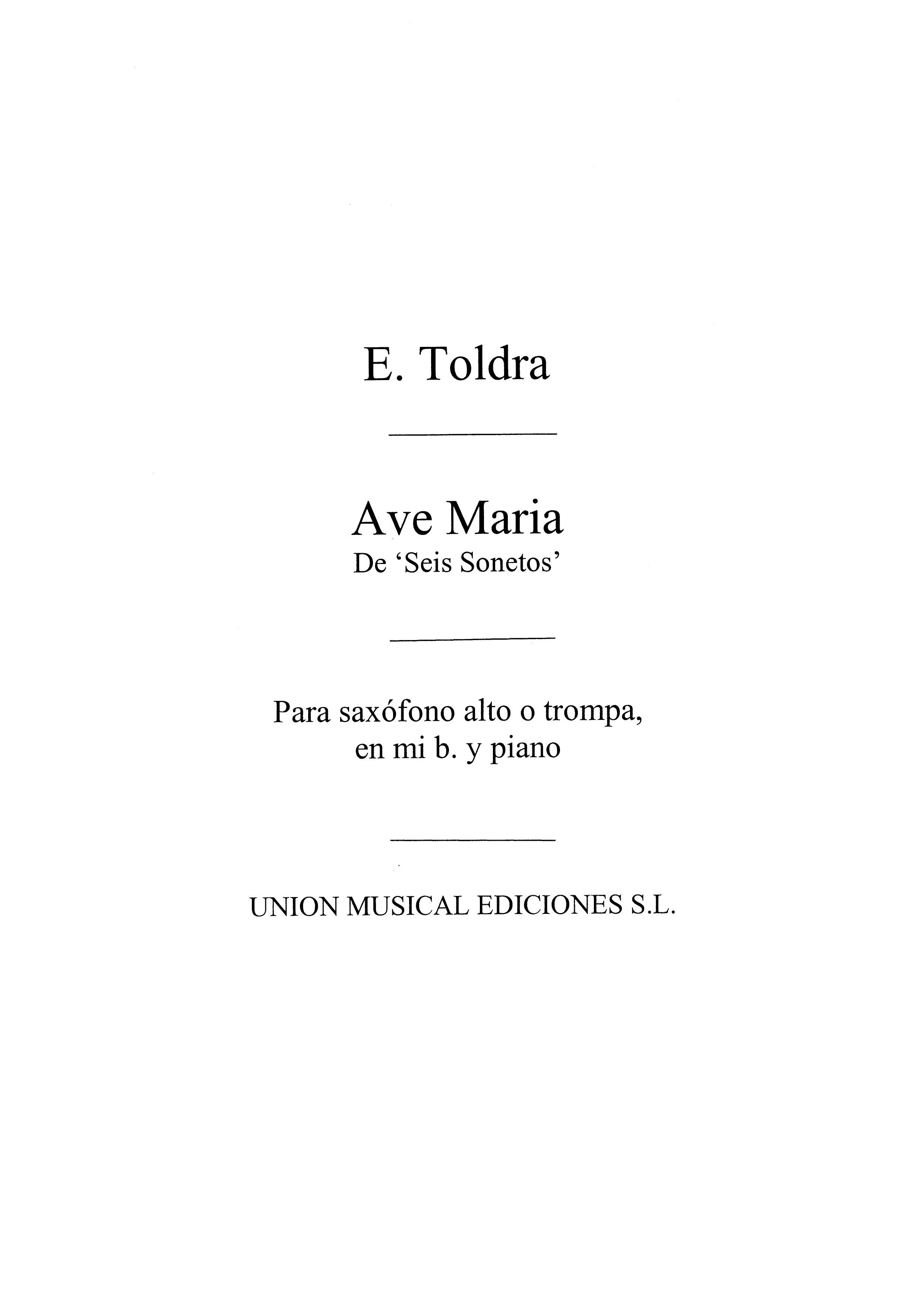 Eduardo Toldra: Ave Maria: Alto Saxophone: Instrumental Work