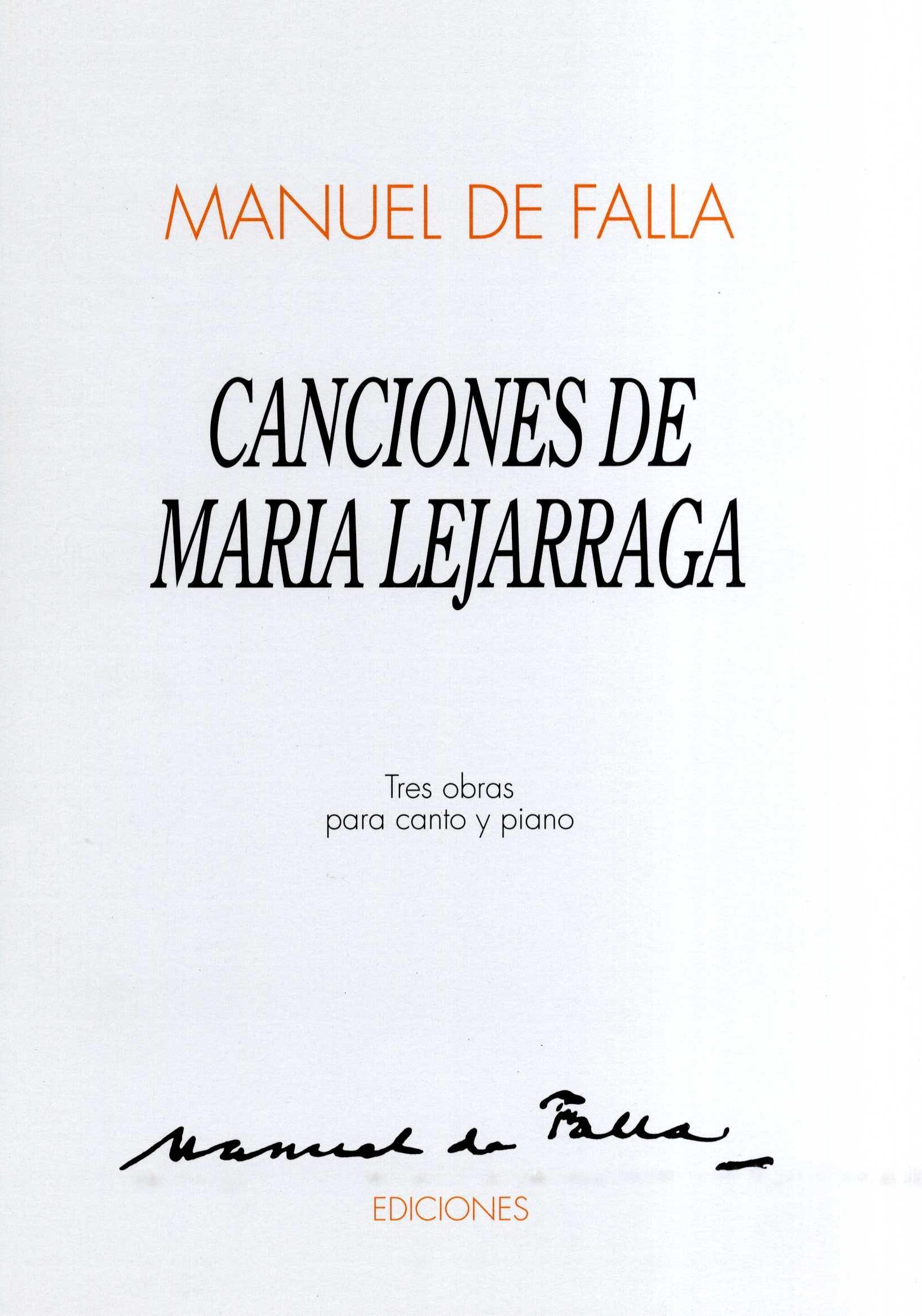 Manuel de Falla: Canciones De Maria Lejarraga: Voice: Mixed Songbook