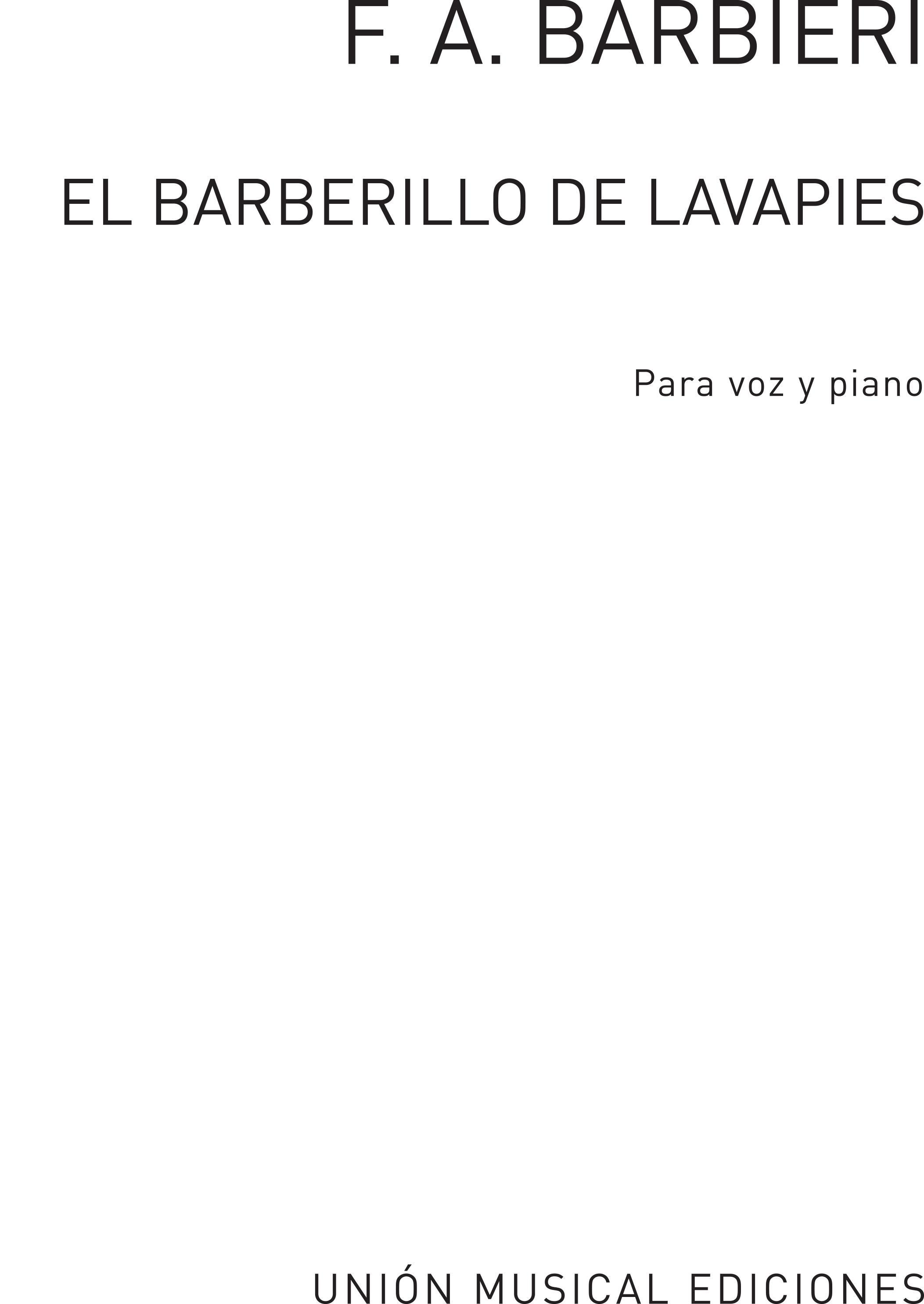 F.A. Barbieri: El Barberillo De Lavapies Vocal Score: Opera: Vocal Score
