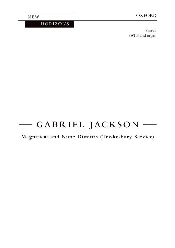 Gabriel Jackson: Magnificat And Nunc Dimittis: Mixed Choir: Vocal Score