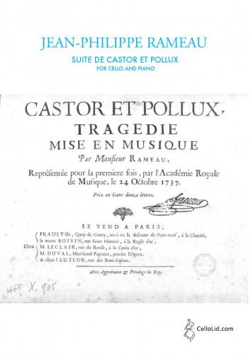Wolfgang Amadeus Mozart: Suite From Castor and Pollux: Cello: Score