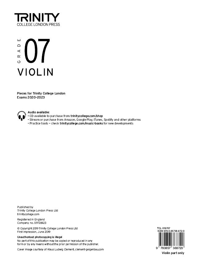 Violin 2020-2023. Grade 7 Part: Violin: Part