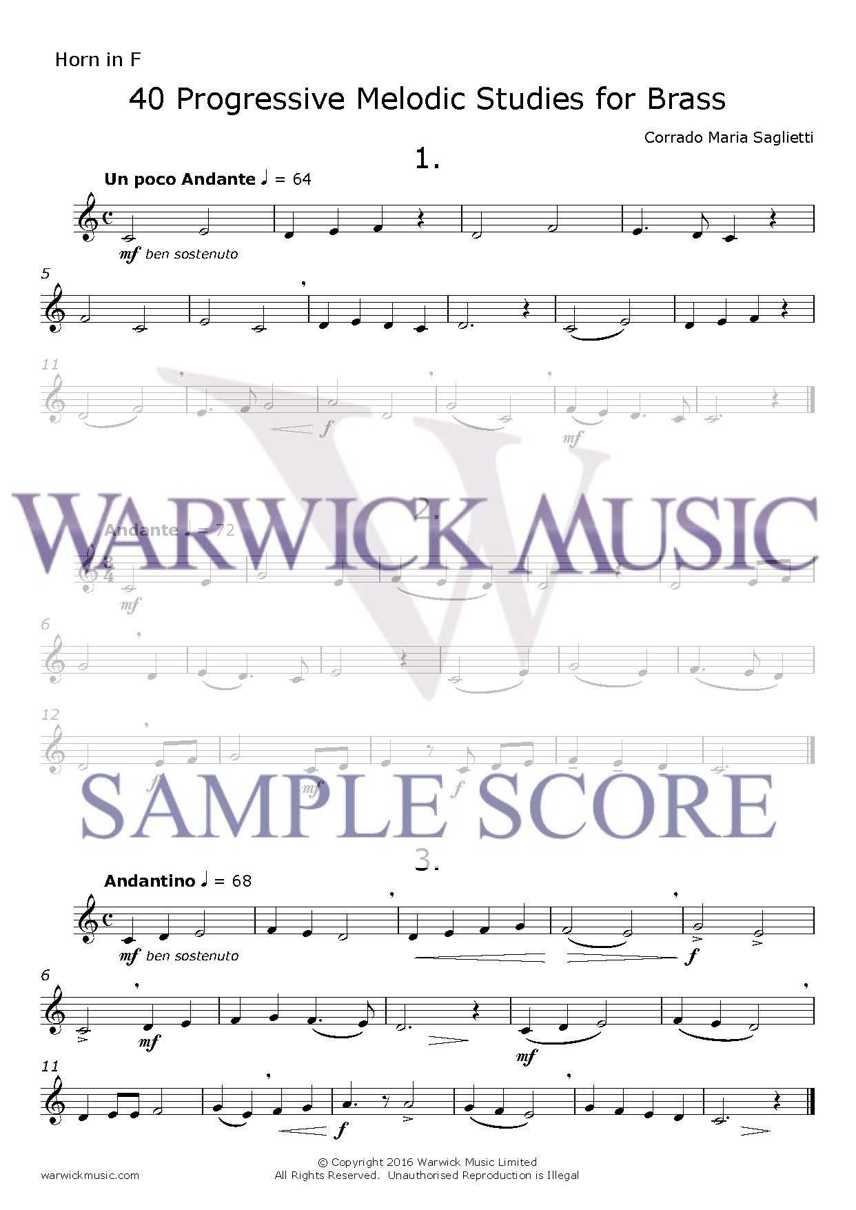 Corrado Maria Saglietti: 40 Progressive Melodic Studies for Brass: French Horn