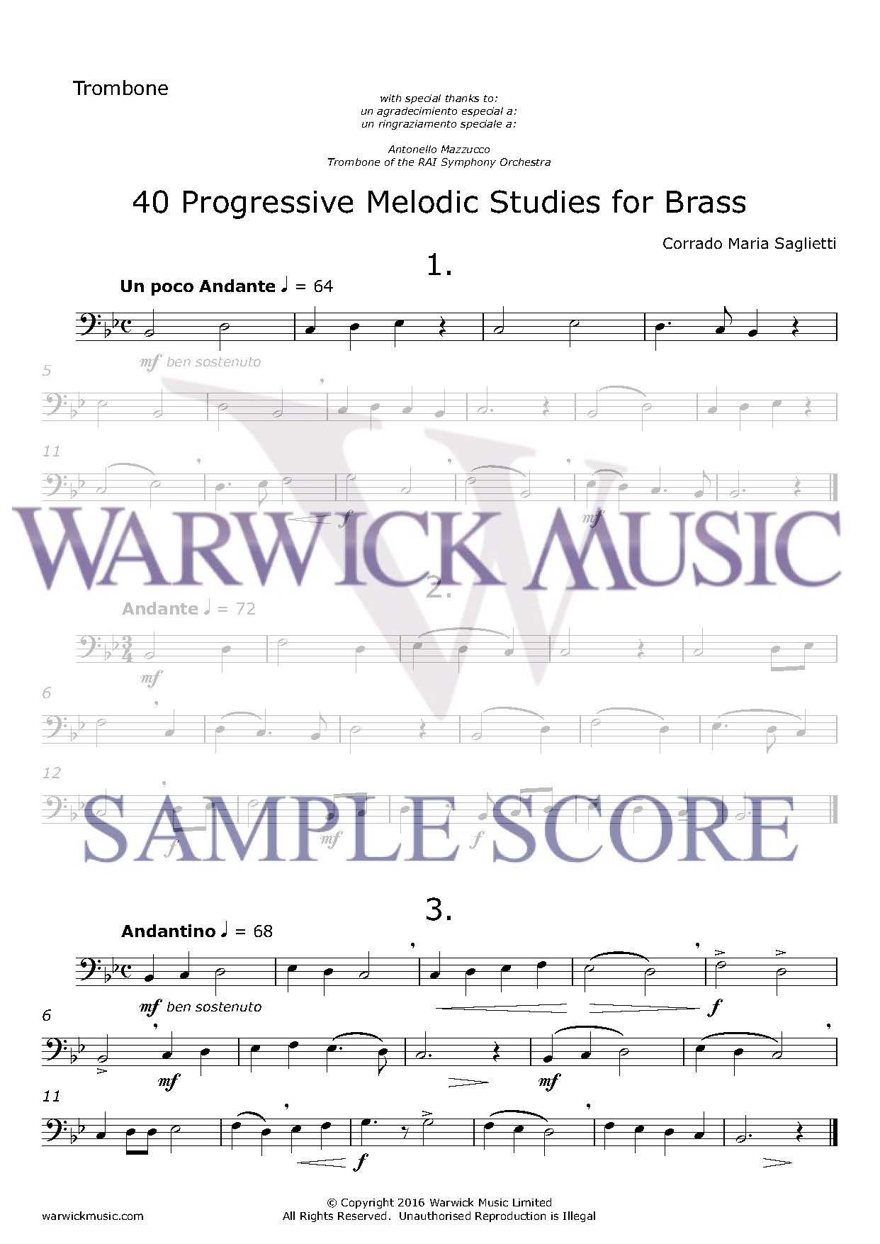 Corrado Maria Saglietti: 40 Progressive Melodic Studies for Brass: Trombone