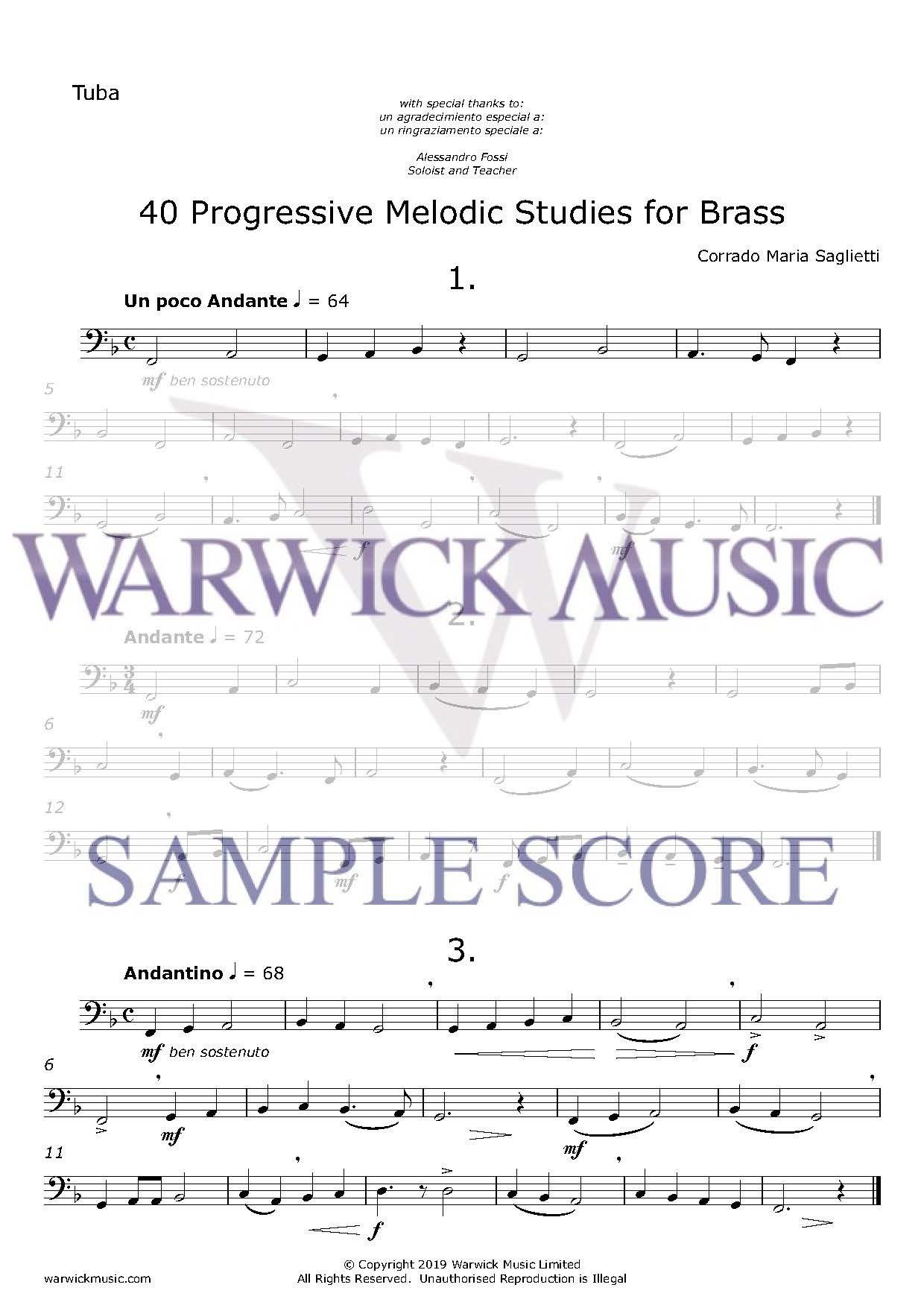 Corrado Maria Saglietti: 40 Progressive Melodic Studies for Brass: Tuba Solo: