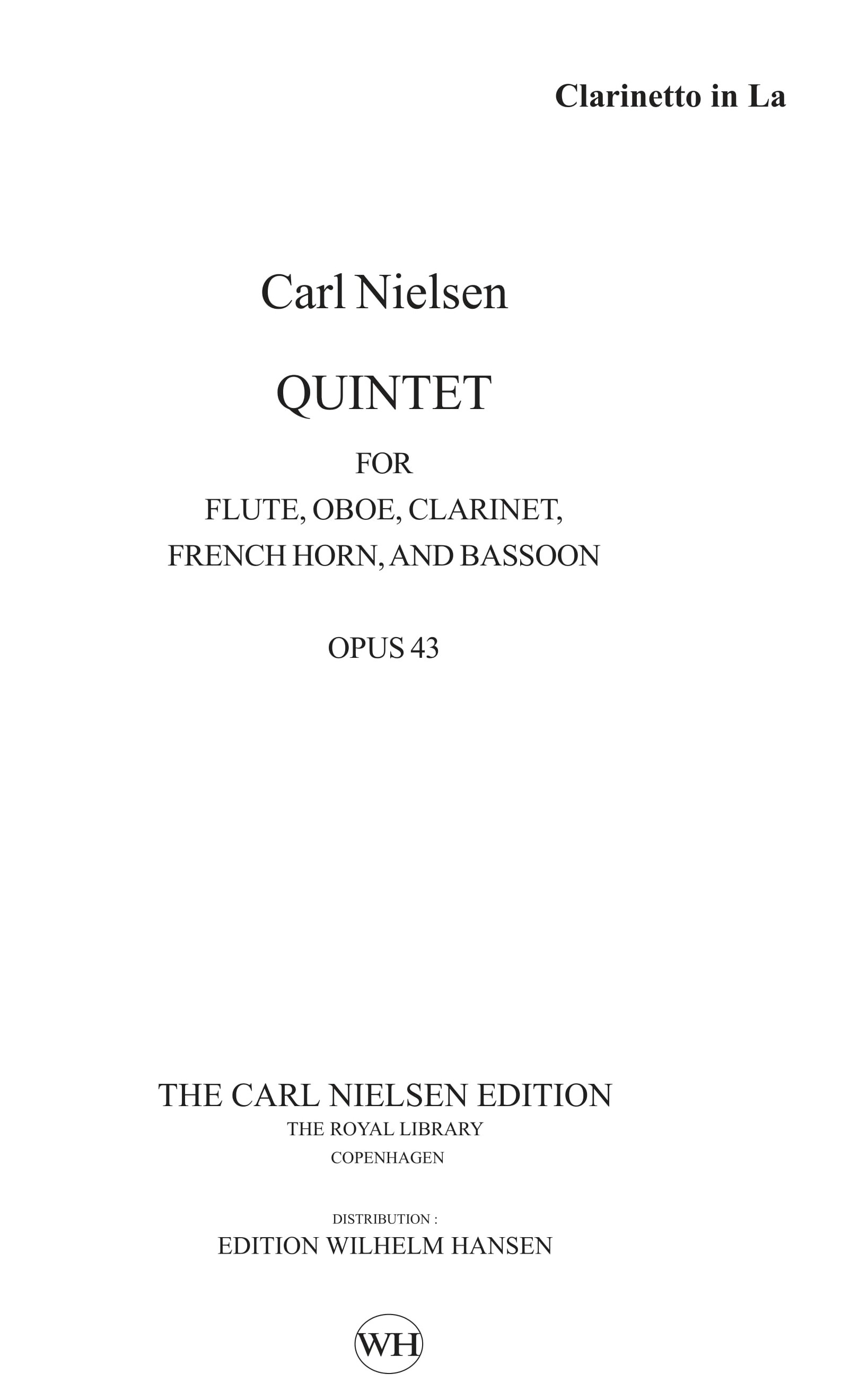 Carl Nielsen: Wind Quintet Op.43: Wind Ensemble: Parts
