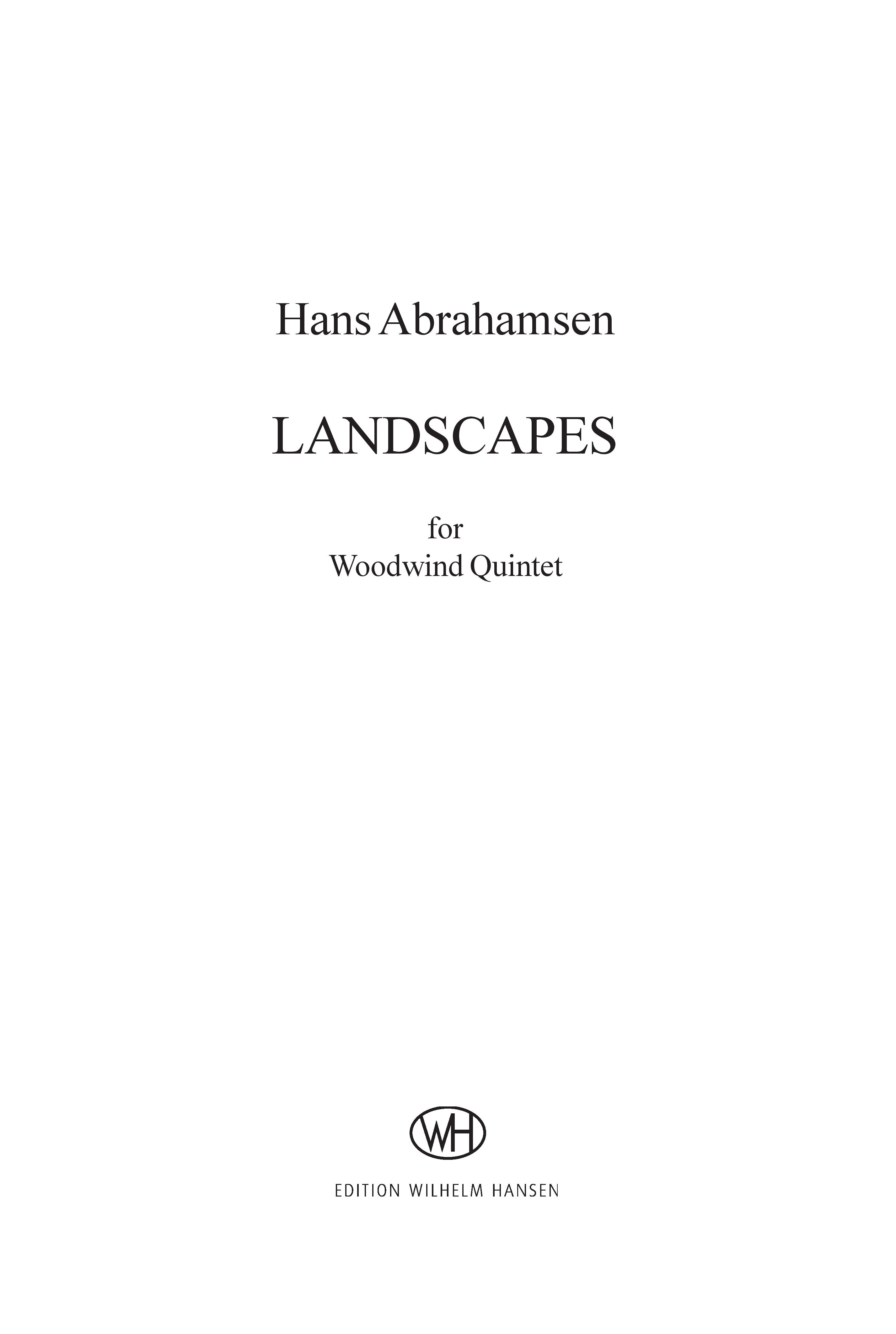 Hans Abrahamsen: Landscapes - Woodwind Quintet No.1: Wind Ensemble: Parts