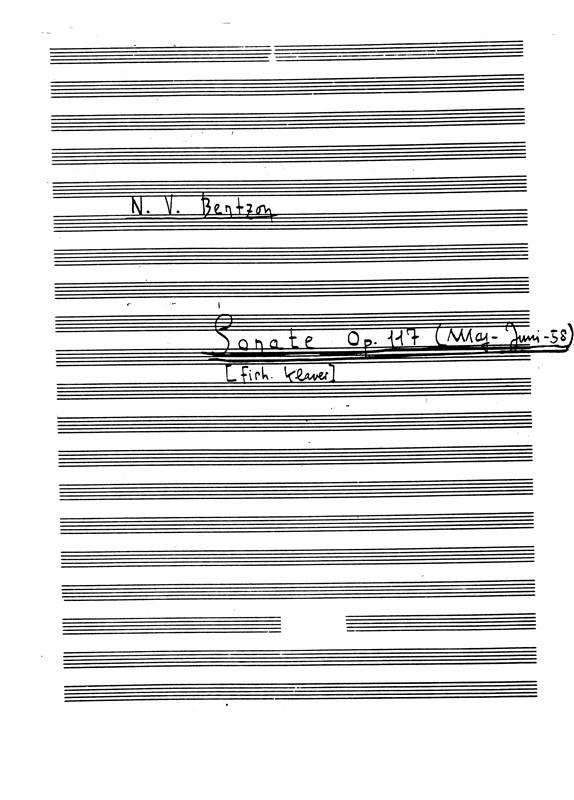 Niels Viggo Bentzon: Sonate Op.117: Piano: Instrumental Work