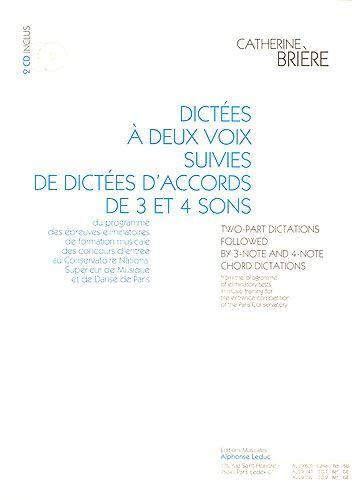 Brière, Catherine : Dictées à Deux Voix Suivies de Dictées d'Accords de 3 et 4 Sons - CDAl88