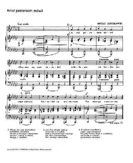 LUTOSLAWSKI 20 POLISH CHRISTMAS CAROLS VOICE and PIANO