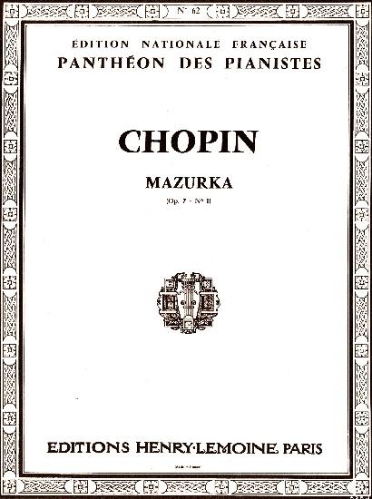 Chopin, Frédéric : Mazurka en si bémol majeur Opus 7 n° 1
