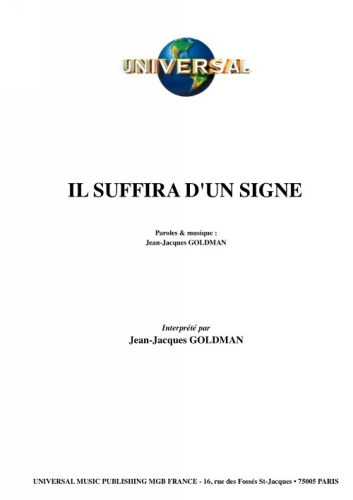 Goldman, Jean-Jacques : Il Suffira D'Un Signe