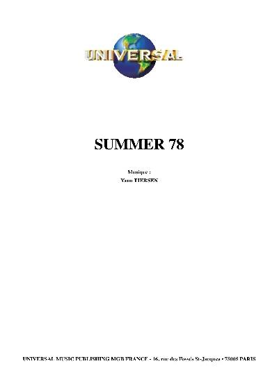 Tiersen, Yann : Summer 78