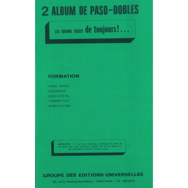 2ème Album De Paso Dobles ? Les Grands Succès De Toujours
