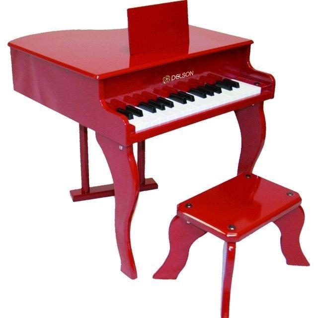 Piano à Queue Rouge pour Enfant avec Tabouret (Frais de Port Inclus)