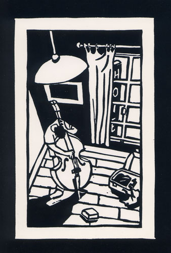 Carte Postale d\'Art `Hôtel Solo, Contrebasse`