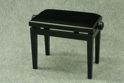 Banquette de Piano Bois Noir Mat / Tissu Noir