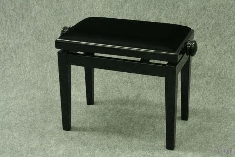 Banquette de Piano Bois Noir Laqué / Tissu Noir