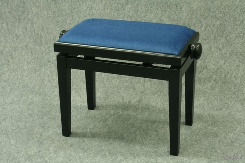 Banquette de Piano Bois Noir Mat / Tissu Bleu / Collée