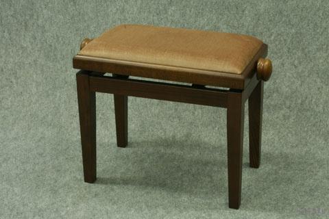 Banquette de Piano Bois Noyer Moyen Mat / Tissu Beige Brun / Collée