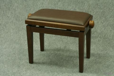 Banquette de Piano Bois Noyer Moyen Mat / Cuir Brun Chocolat / Collée