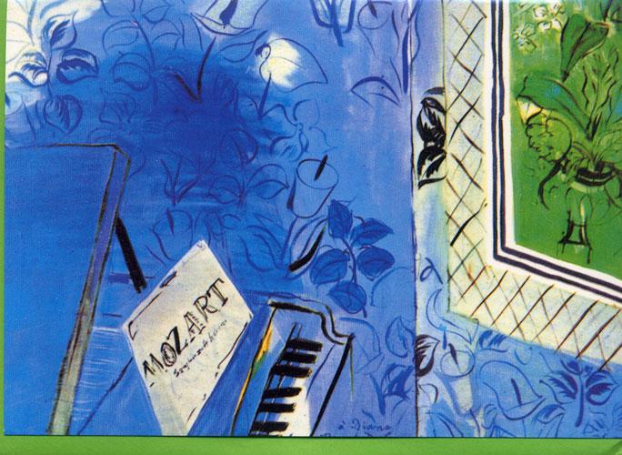 Carte Postale d\'Art `Le Mozart Bleu` + 1 Enveloppe