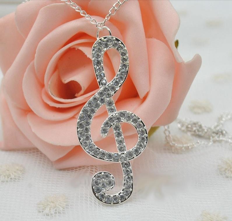 Grand Pendentif Clé de Sol pour Femme Couleur Argent [Big G key Pendant for Necklace for Woman Silver]