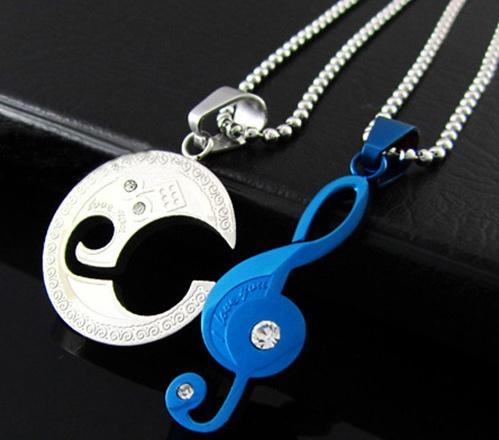 Pendentif pour Couple Clé de Sol Couleur Bleu [G Key Pendant for couple Blue]