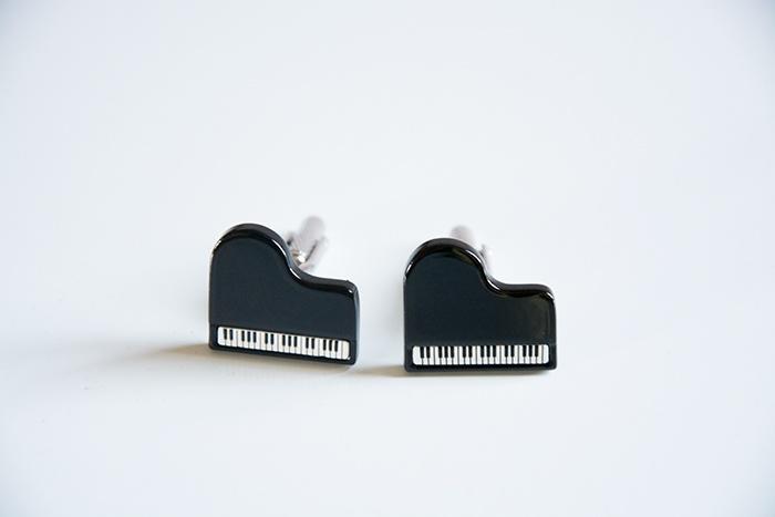 Boutons de manchette : Piano à Queue - Noir [Cufflinks : Concert Piano - Black]
