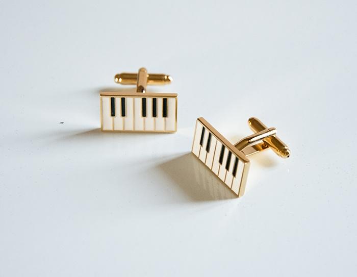 Boutons de manchette : Touche de Piano - Rectangulaire [Cuff Links : Piano Key - Rectangular]