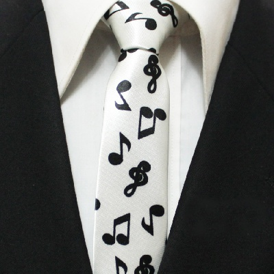 Cravate - Motifs Musicaux Blanche [Tie - with Music Notes White]