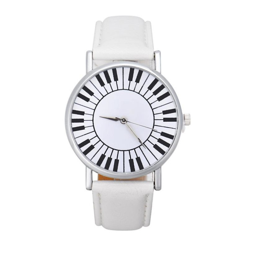 Montre Cadran Touches de Piano - Blanc [Wrist Watch Piano Keys White]