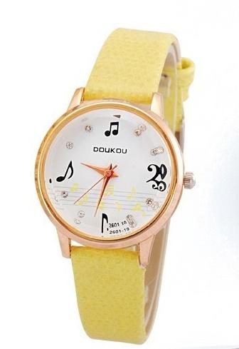 Montre - Motifs Musicaux - Jaune [Wrist Watch Music Notes - Yellow]