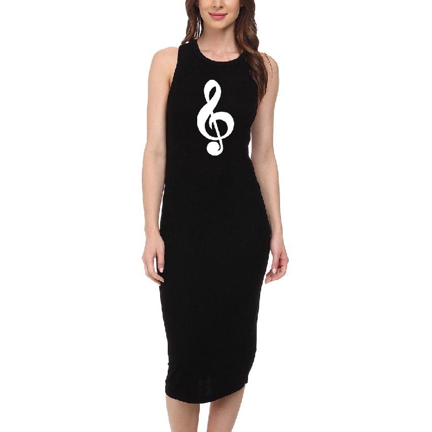 Robe Noire Clef de Sol (Taille L) [Black Dress - G-Key (Size L)]
