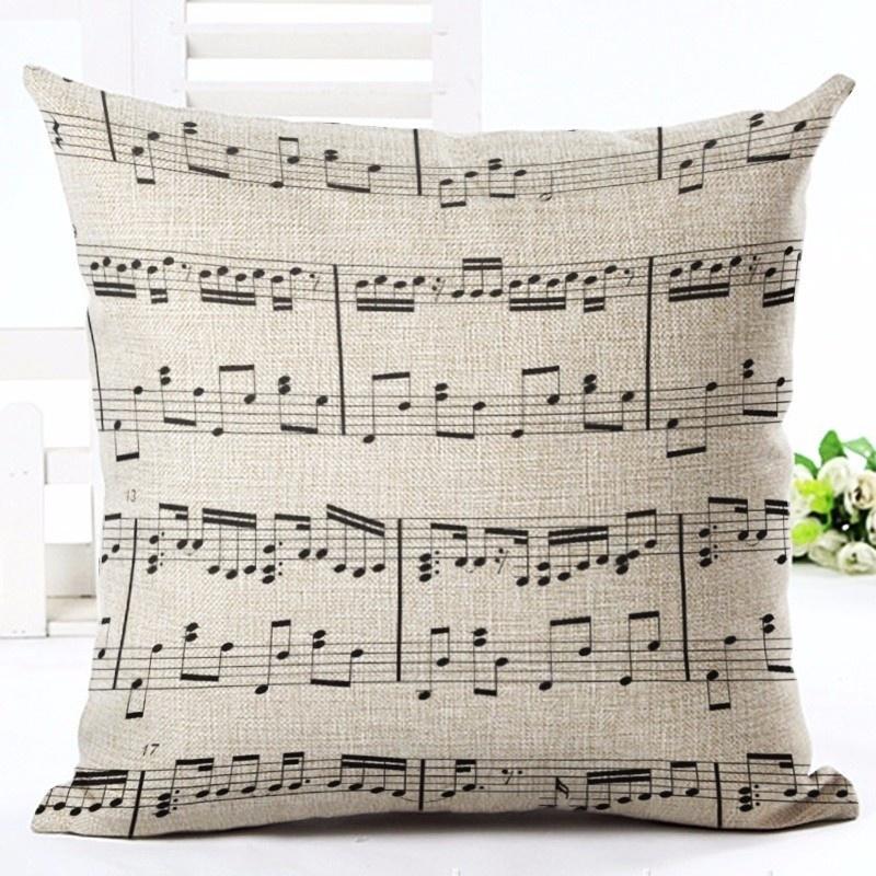 Taie d\'Oreiller / Housse de Coussin Grosse Portée de notes [Cushion Covers / Pillowcase Big Musical Statf]